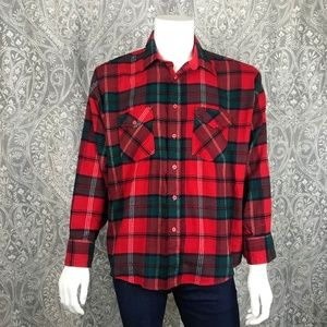 Vintage Windbreaker Red and Green Flannel Shirt XL